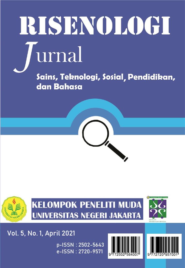 View Vol. 6 No. 1 (2021): Risenologi (Jurnal Sains, Teknologi, Sosial, Pendidikan, dan Bahasa)